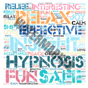 word collage about hypnosis