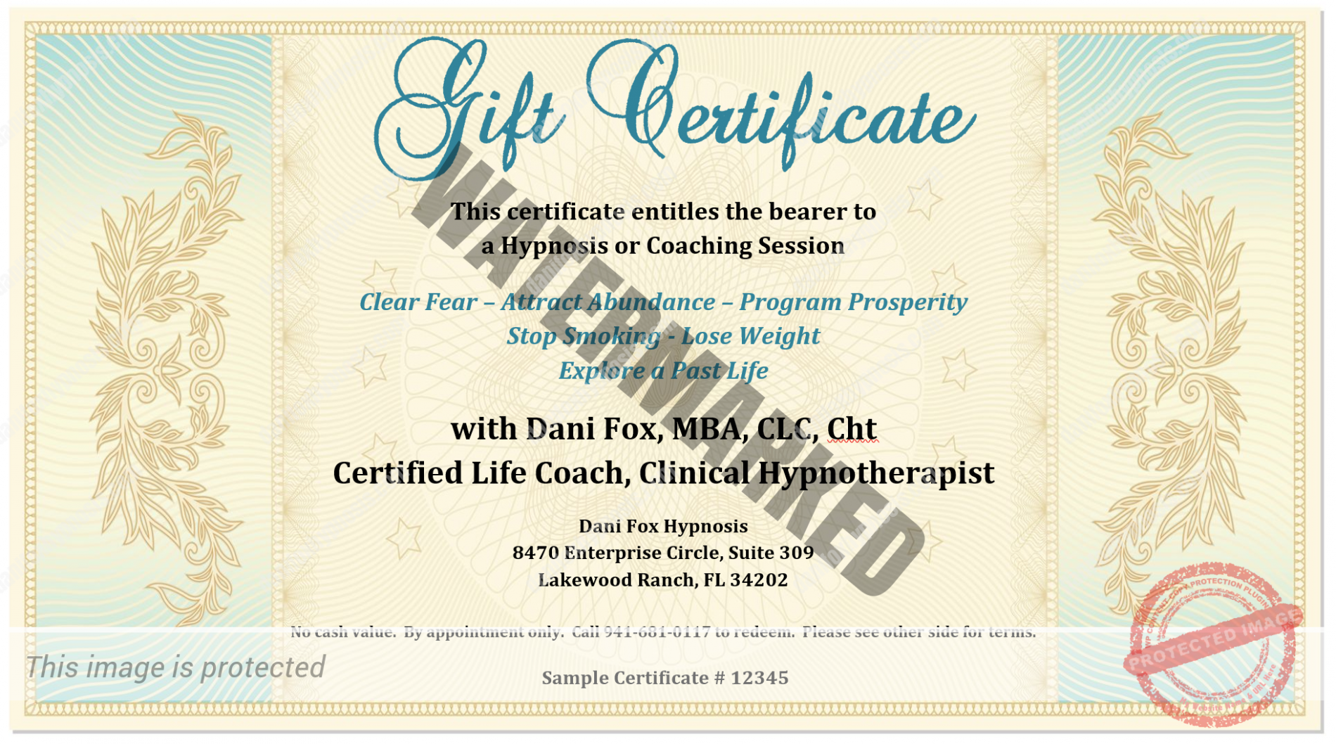 Gift certificate dani fox hypnosis for This certificate entitles you to