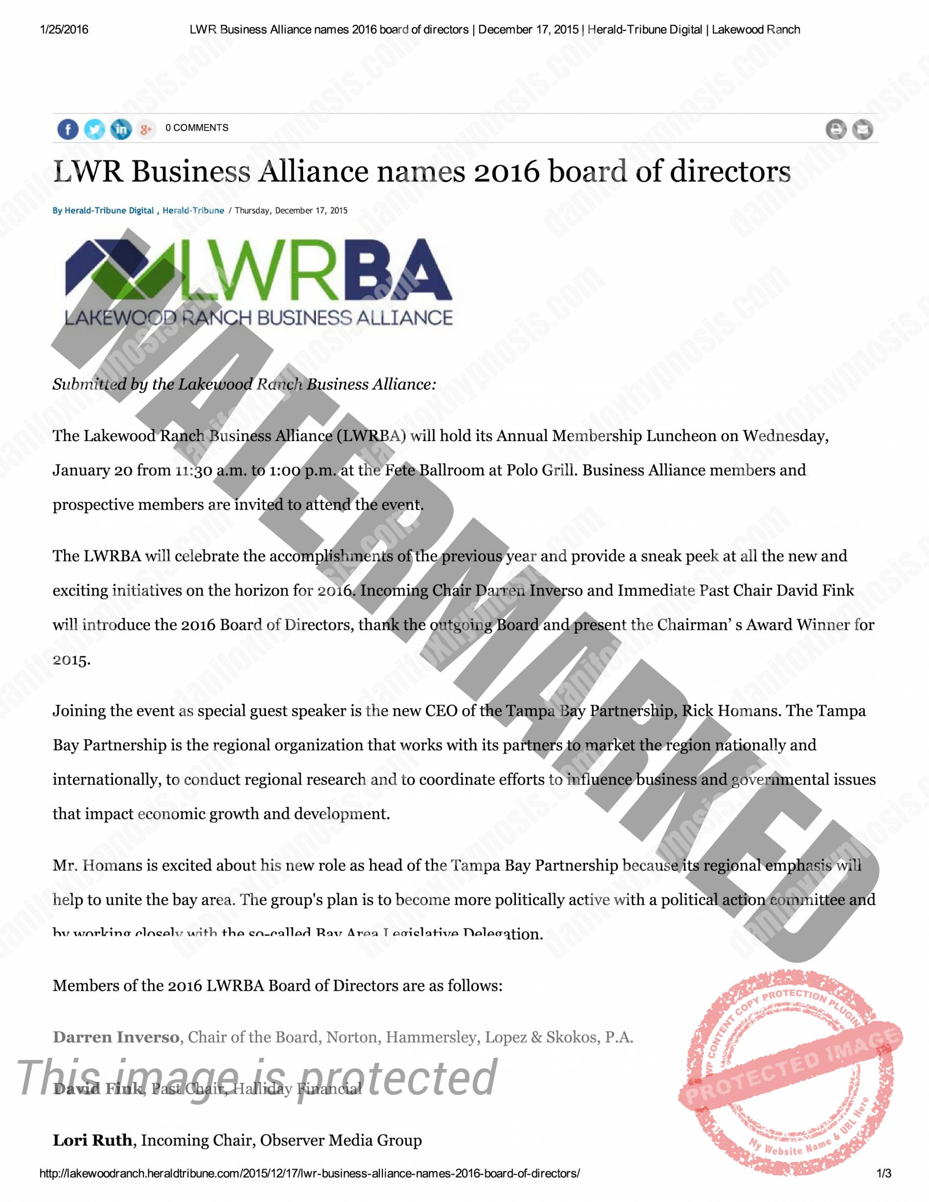 2016 LWRBA Board Announcement