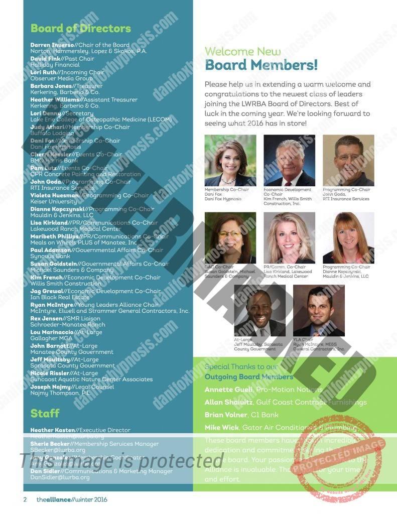 2016 LWRBA Board Announcement